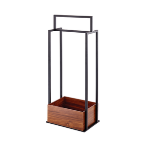 Shopping Mall Modern Black Iron Wooden Display Rack For Clothes
