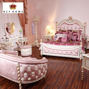 French style royal princess furniture luxury bedroom genuine cattle hide  leather king size bed high headboard beds