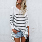 O Neck Spring Summer Autumn Fashion Oversize Striped Cotton Lady T Shirt Women Casual Long Sleeve T-Shirt Woman Loose T Shirts