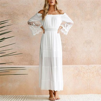 Women Summer Boho Lace Maxi Dress Evening Party White Slash Neck Flare Sleeve Long Beach Dresses