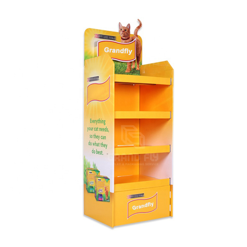 Benutzerdefinierte POP Karton Karton Display Regal, Karton Well Papier Boden Display Stand für Katzenfutter