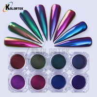 Multichrome color shifting cosmetic nail powder pigments