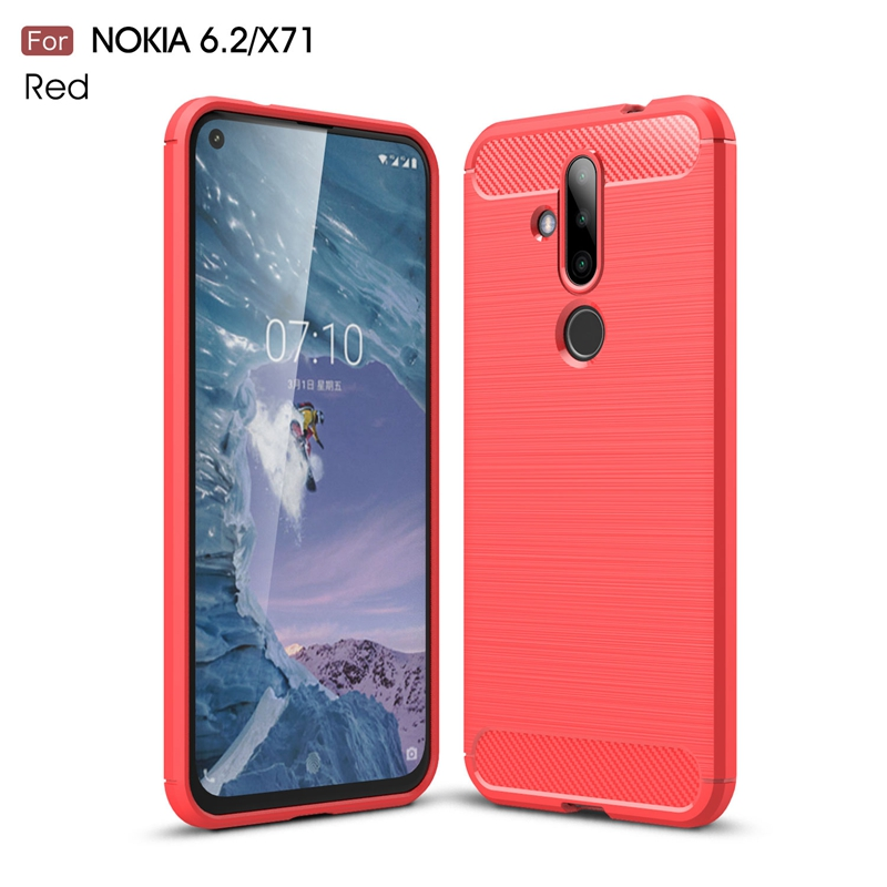 for Nokia X71/Nokia 6.2 Back Cover Soft Case Made to Suit Real Phone/ Brushed Carbon Fiber Slim TPU Phone Case for Nokia X71