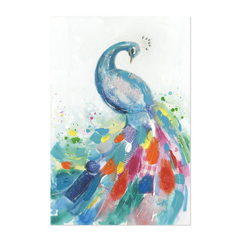 Multi-color graffiti art handmade Plus printing Peacock Painting Wall Art Peacock Painting Canvas