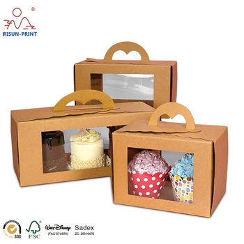 New product paper cupcake box design for sale with window / gable cake box with window