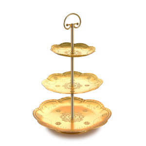 wholesale supply hotel Home 3 Tier mini gold Iron Metal Cupcake cake stand for Wedding Birthday Party decoration
