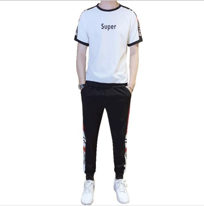 fe808ace103 2019 летняя новая футболка с короткими рукавами Повседневный спортивный  костюм мужской прилив бренд брюки тенденция мужская