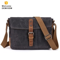 OEM vintage retro unisex large capacity custom men's messenger laptop canvas genuine single strap leather shoulder bag men