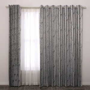 High quality modern plant printed design curtains for the living room ready made