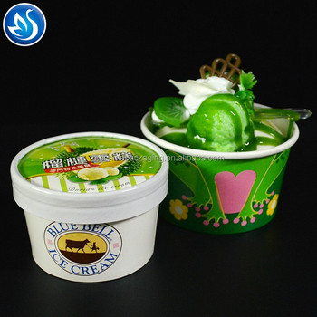 disposable printed ice cream paper cup with lid