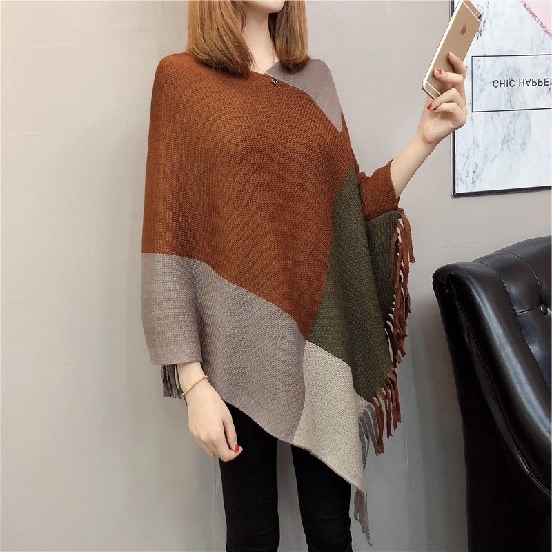 Hot sale new arrival <strong>v</strong> neck plus size cable knitted women poncho sweater