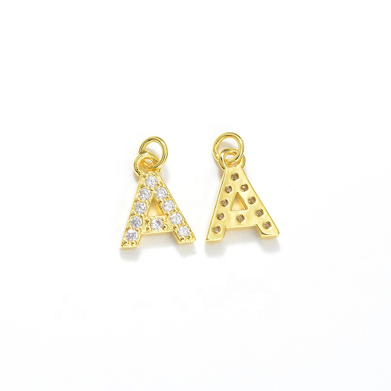 Gold &amp; Platinum Plated CZ Micro Pave Findings Letter A Pendant <strong>Charm</strong> Alphabet Letter <strong>Charms</strong> For Necklace Bracelet Jewelry Making
