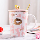Zogift high quality cute decal ceramic coffee mug ceramic cup and plate dinner set tableware ceramic saucer