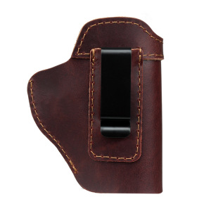Right Hand OWB Leather Gun Holster for Belts fits most Models inside or outside waistband