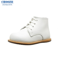 Choozii Winter Unisex Fashion White Leather Children Shoes Boys Girls Toddler Kids Ankle Boots