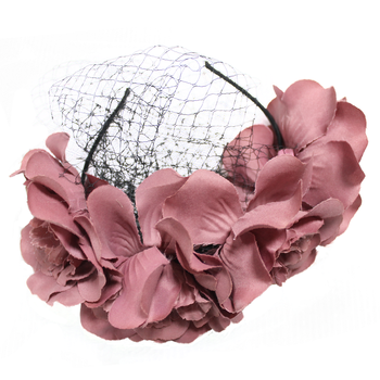 Rose Dusty Bohemia Headpieces with Flower and Black Net Mesh Princess Hair Accessories for Women Seaside Style
