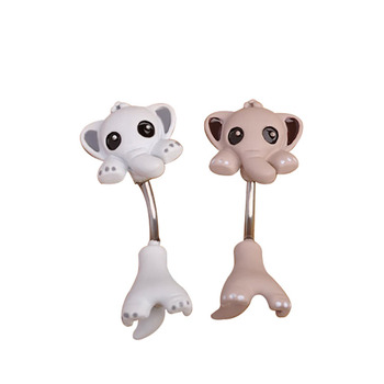 Wholesale Cute Small Elephant Navel Belly Button Rings Enamel Creative Bar Stainless Steel Body Jewelry Piercing Buy Body Piercing Jewelry Belly