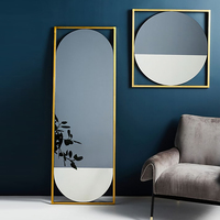 Wholesale iron frame large full length dressing mirror standing with mix colored glass