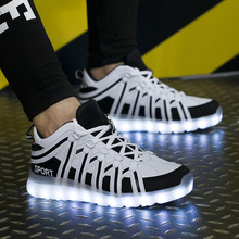 QUQI usb led light gents sport pennen met custom logo kids <span class=keywords><strong>schoenen</strong></span> wit