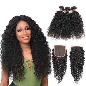 9A Brazilian Jerry Curl with Closure Unprocessed Virgin Hair Bundles with Closure Brazilian Hair Bundles Cuticle Aligned Hair