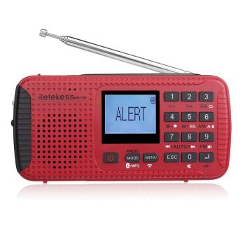 Portátil AM FM Noaa Rádio De Emergência Manivela Solar Bluetooth MP3 Player Digital Rádio Gravador Retekess HR-11W