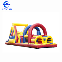Outdoor Games Obstacle Course Jump House equipment , Moon Bouncy Obstacle Course Rental