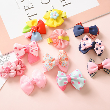 Bowknot hairpin children hair ornaments baby duck mouth clip