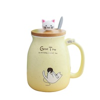 Japanese Style 3D Cute Cat Animal Colored Matte Ceramic Coffee Milk Mug With Spoon And Lid