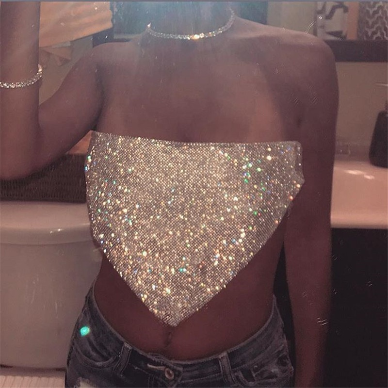 Shihan SH1026 Sexy Halter Sequin Top Tees Vrouwen Mouwloze Backless T-shirts Metalen Ketting Diamond Night Club Terug Zomer Tops