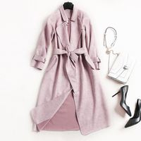 Autumn\/Winter women High-grade suede coat lengthened solid color Lapel coat