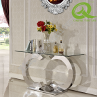 Tempered Glass Top Console Table With Stainless Steel Base