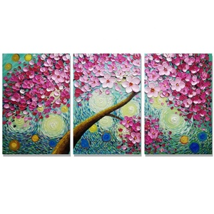 hand painting oil canvas Welcome custom blue tree abstract triple set of canvas price 30*40*3