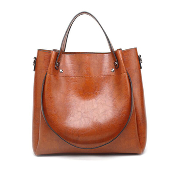 EM420 trendy solid color tote bag ladies pu leather handbag wholesale from china