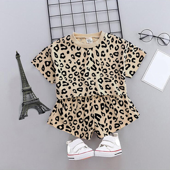 Fashion European Design Children Girls Leopard Print USA Style Clothes Set Wholesale Kids Clothing