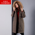 TANBOER women's down jacket female long jacket fur collar coat waterproof puffer coats red winter jacket high quality TB18666
