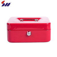 Factory wholesale security key lock metal bank money safe cash box with security cable