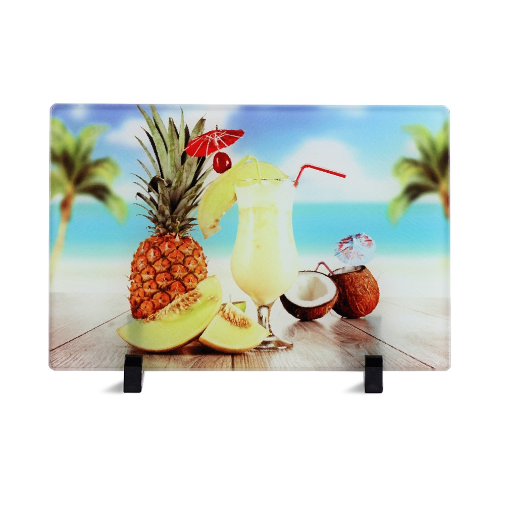 Sunmeta Kustom Tempered Sublimasi Chinchilla Kaca Cutting Board untuk Dapur 11*7*0.2 CM