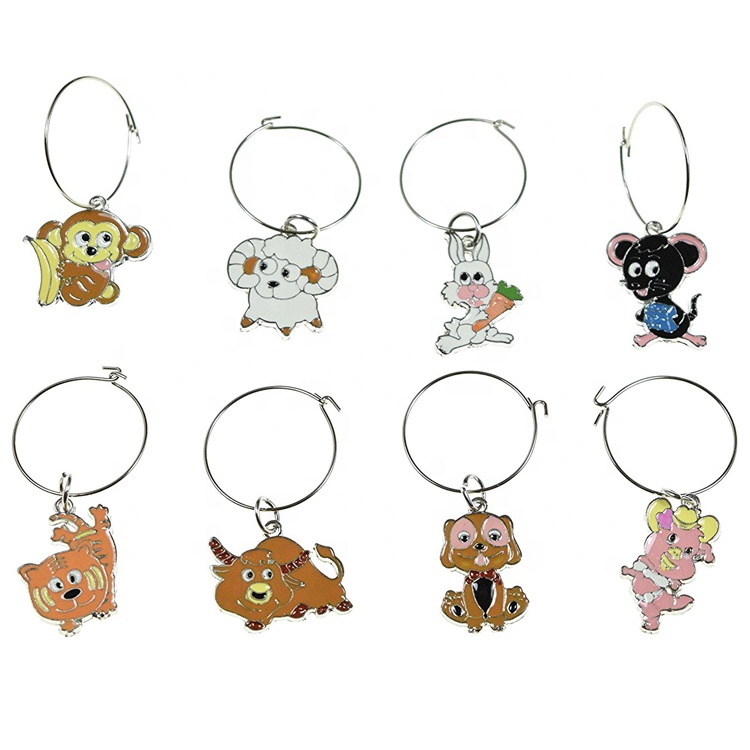 Animal Wine Glass Charms Set of 8 Colorful Animal Charms Monkey Sheep Rabbit Mouse Cat Bull Dog and Pig Wine Charms