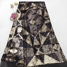 Nieuwe mode haute couture sequin lace stof goud guipurekant sequence <span class=keywords><strong>saree</strong></span> grenzen