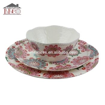 New Design Flower License Melamine Pizza Dinner Set