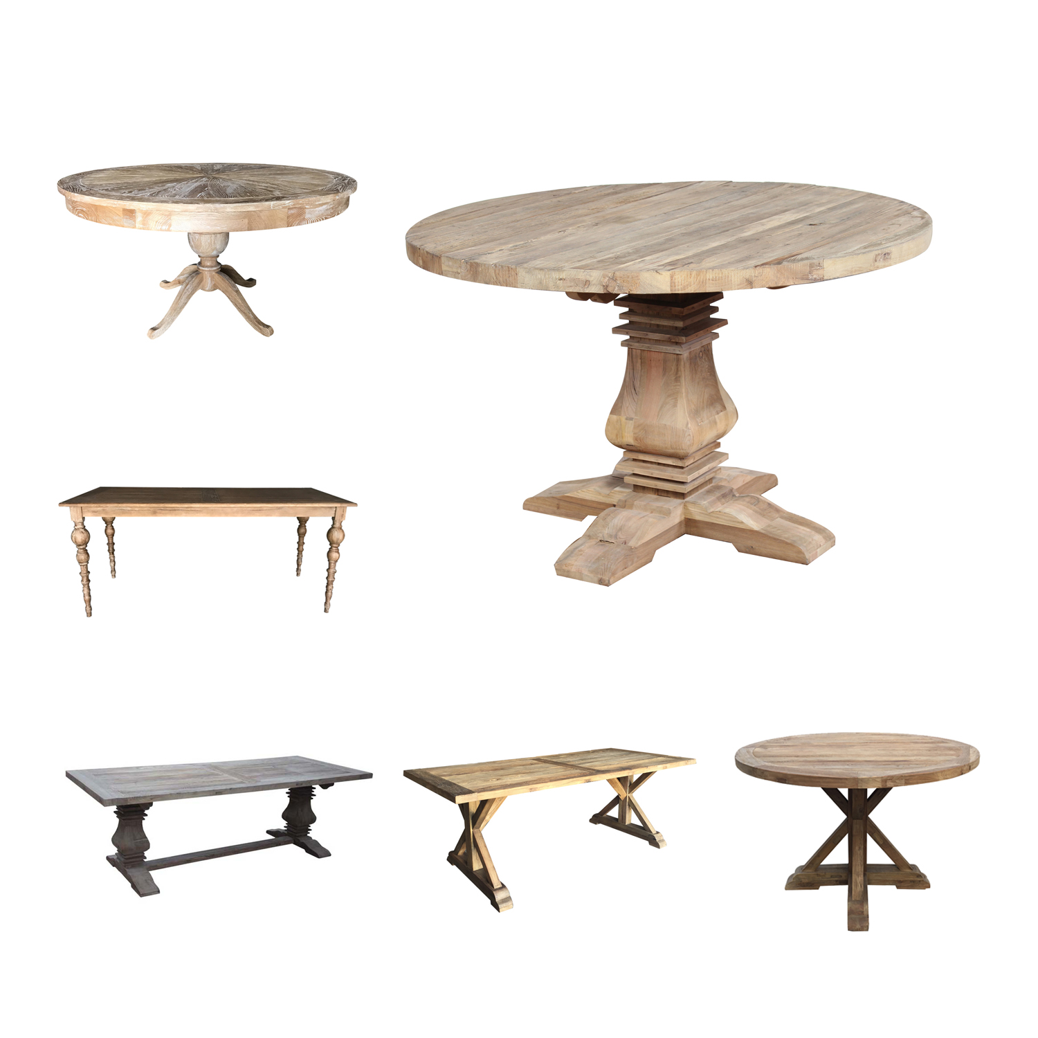 Reclaimed elm salvaged wood trestle round dining <strong>table</strong>