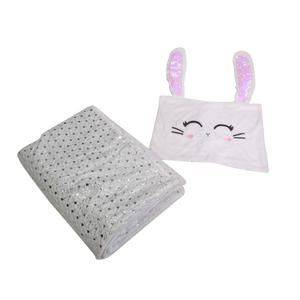 Customized Cute Soft Animal Rabbit Baby Flannel Blanket Polyester Plush