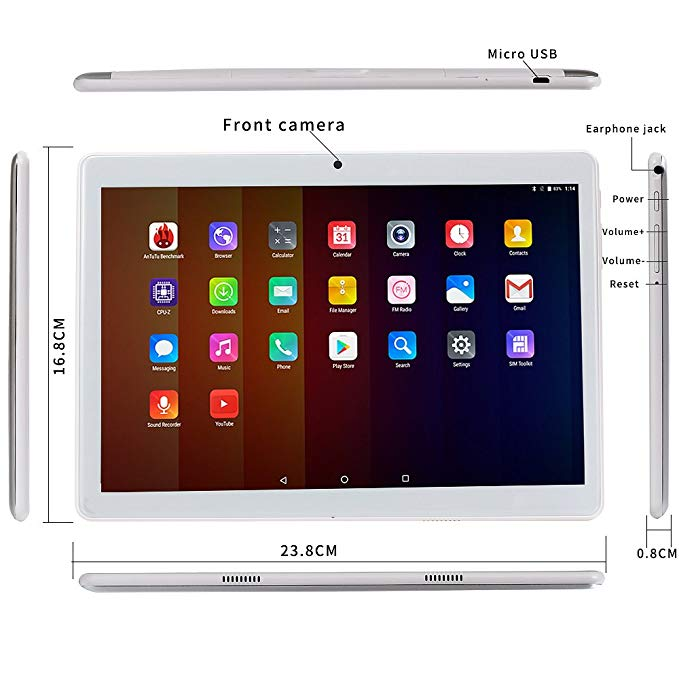 Polegadas 1280*800 Tablet PC MT6580 10 Quad 16 Core1GB RAM GB ROM Dual 3G Tablets Com Wi-fi GPS