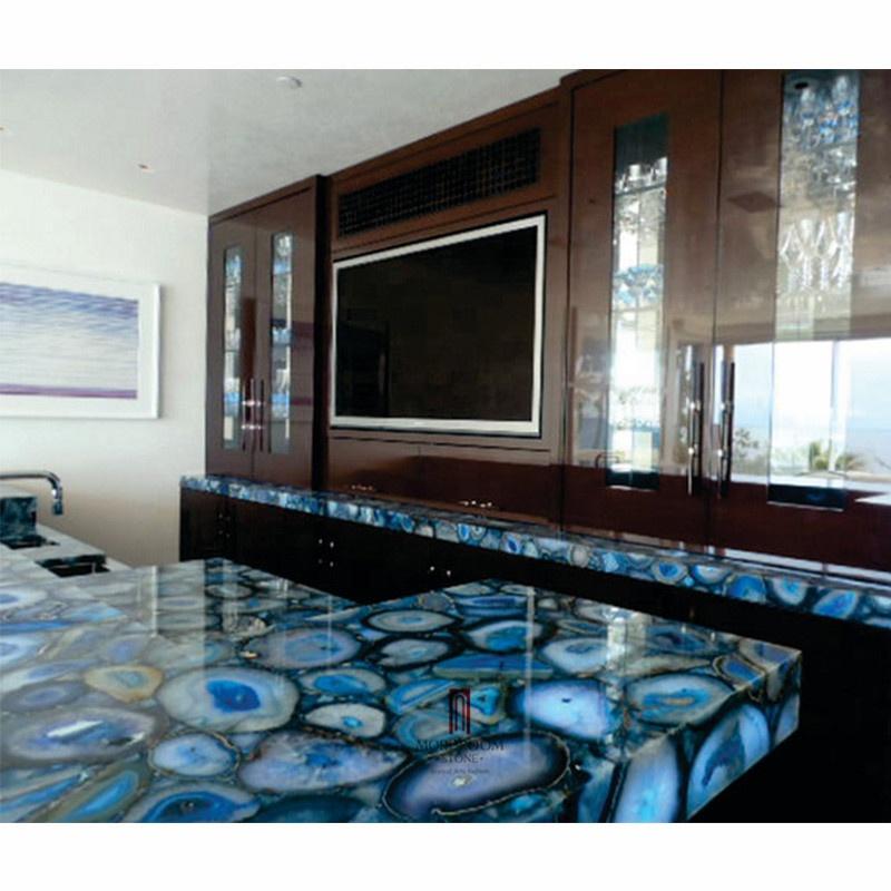 Hot Translucent Semi Precious Stone Blue Agate Kitchen Countertops