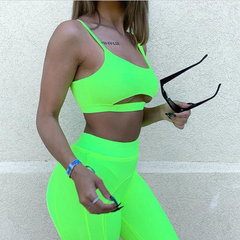 Hot Sale Elegant Ladies Sleeveless Neon Color Polyester Shorts Women Sets
