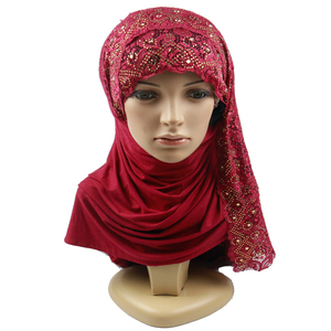 2019 early spring new cotton lace ladies hijab scarf latest design muslim hijab