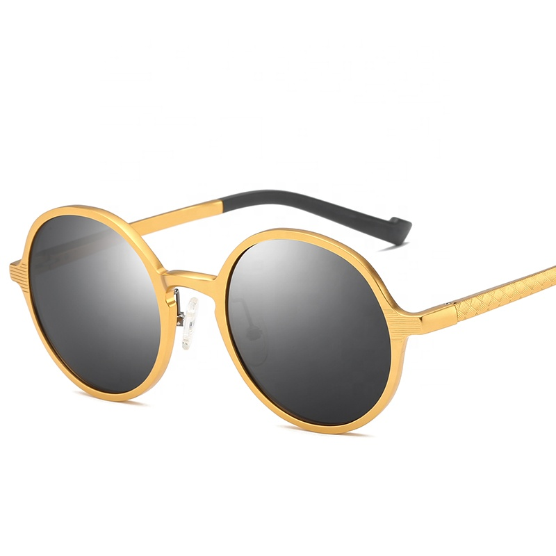 2019 Sunglasses <strong>Custom</strong> Logo Women <strong>Shade</strong> round Polarized Men Aluminum Sunglasses