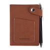 Elfinbook mini Leather Card Holder with Pen Erase Reuse Notebook Portable Notepad To Do List School Office Notebook
