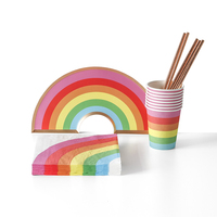 China Supplier Wholesale kids Rainbow Party Supplies Set Decoration