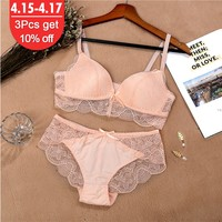 Lace Bra Set For Women Comfort Wireless Bra Sexy Lingerie Set Fashion Female Wire Free Floral Underwear Suit Cotton Girls